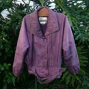 ladies leather jacket lined w/belt